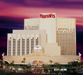 Image of Harrah Hotel at sunset